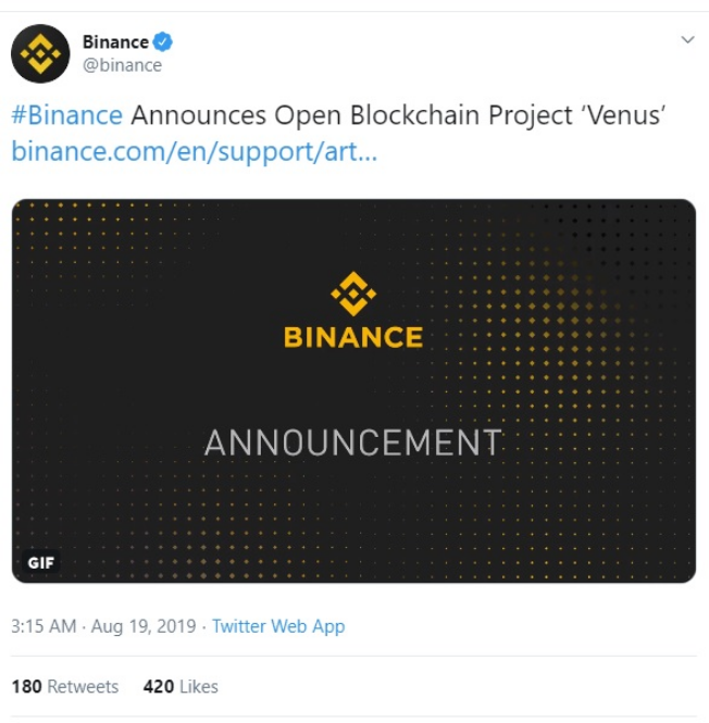 Binance Launches Venus Project
